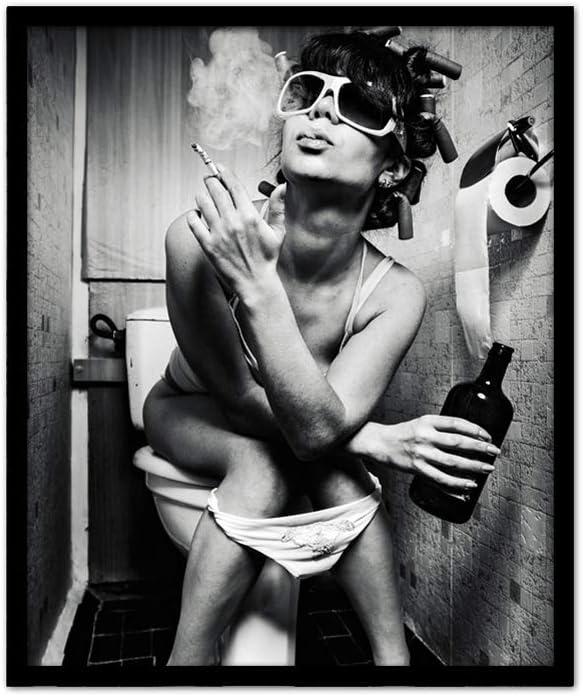 Lienzo Arte de la Pared Posters, Mujer fumando y Bebiendo lienzos a Prueba de Agua Sexy Moda Mujer Cuadros Decorativos Aseo Dormitorio Hotel Decoración de la Pared,1
