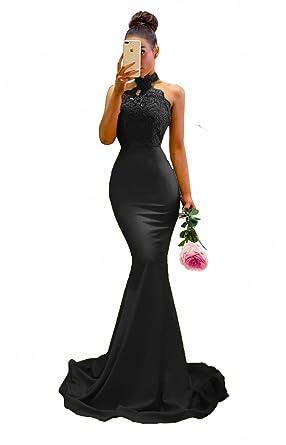 Sweet Bridal Womens Elegant Bridesmaid Dresses Mermaid Long Evening Prom Dress Black US2