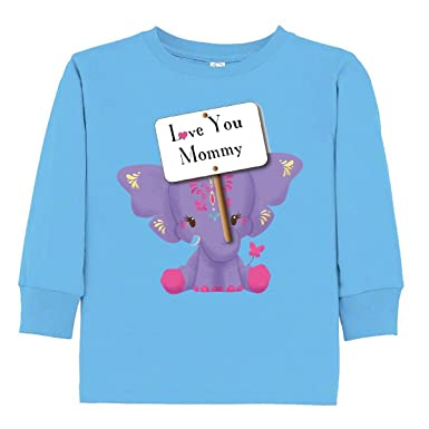 a5d45b67148c3 Amazon.com  inktastic Love You Mommy Purple Toddler Long Sleeve T-Shirt -  Tiny Tusks  Clothing