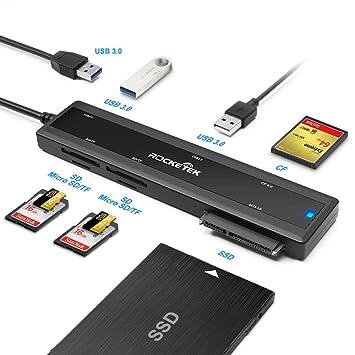 Rocketek USB 3.0 portátil estación de acoplamiento con CF tarjeta y tarjeta SD y Micro SD lector de tarjetas y hub de 2 puertos USB 3.0 y SATA ...