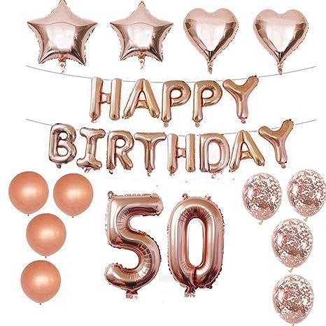 50 decoraciones de cumpleaños Kit Foil Balloon 50 ...