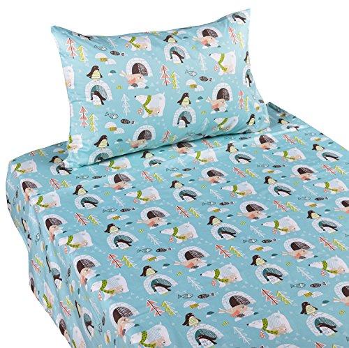 J-pinno Penguin Polar Bear Sea Lion Twin Sheet Set for Kids Boy Children,100% Cotton, Flat Sheet + Fitted Sheet + Pillowcase Bedding (Twin Penguins)