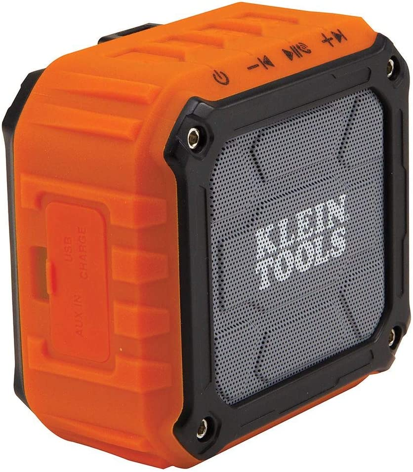 Klein Tools AEPJS10 Wireless Speaker, Portable Jobsite Speaker Plays Audio  and Answers Calls Hands Free, Durable Enough for Worksite Use