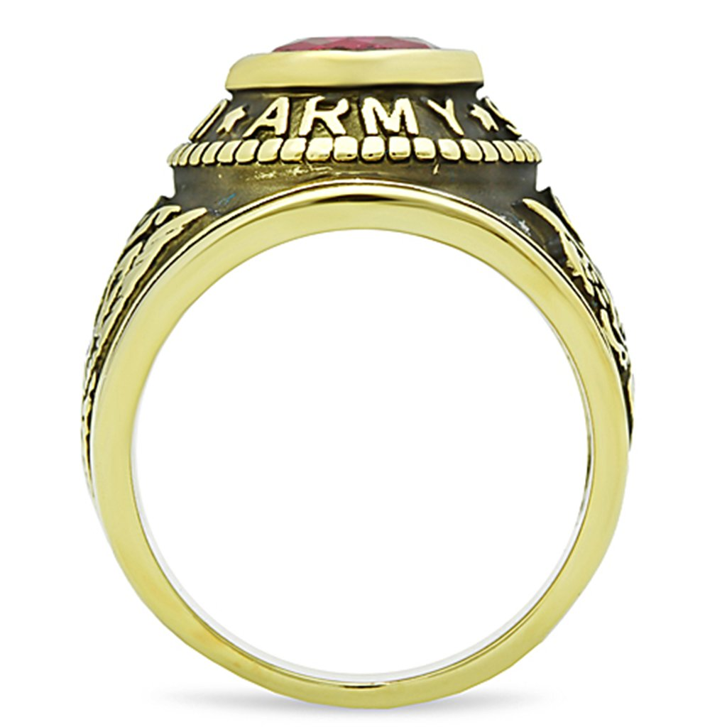 3b0cbf0778c ISADY - US Army Gold Rubis - Bague Homme - Chevalière - Oxyde de zirconium  rouge  Amazon.fr  Bijoux