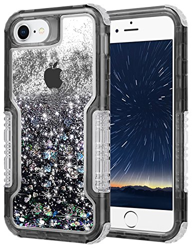 Aemotoy for iPhone 8 Case,iPhone 7 Case Quicksand Liquid iPhone 8 Glitter Anti Slip Shock-Absorption Full Protective Bumper Case with Air Cushion Anti-Scratch Clear Back Cover for iPhone 7 8 (Black) - Scratch Glitter
