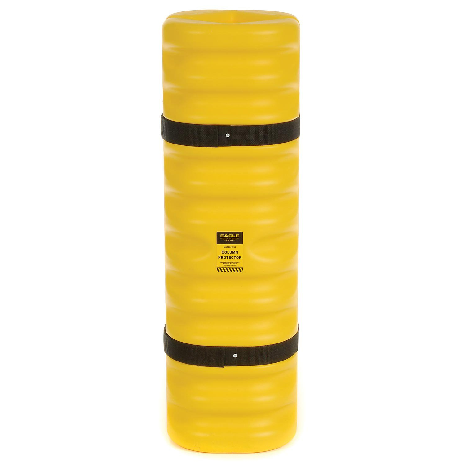 Eagle 1704 Blow-Molded High Density Polyethylene Column Protector for 4''-6'' Column with Easy to Install Straps, Yellow, 13'' Length, 13'' Width, 42'' Height