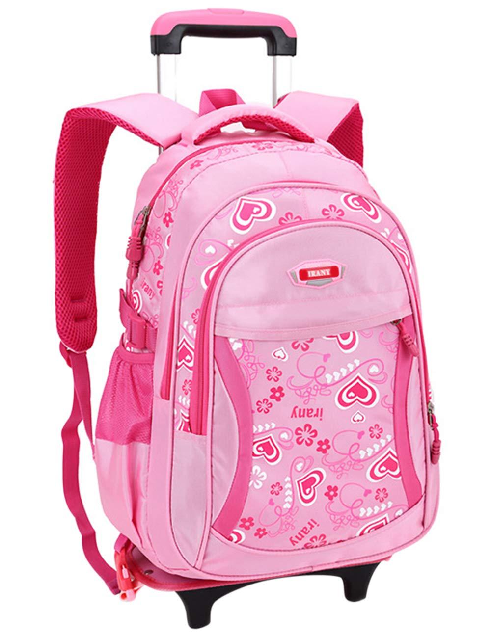 9706  Pink One_Size Backpack Shoulder Bag Trolley School Bag Travel Bag Rucksack Kid Teenager Zhhmeiruian