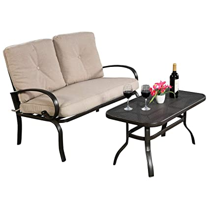Sensational Amazon Com 2 Piece Patio Loveseat And Coffee Table With Unemploymentrelief Wooden Chair Designs For Living Room Unemploymentrelieforg