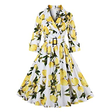 Women Floral Vintage Dress Lemon Print Party Dress Style Rockabilly Dress Vestido Luxury Pleated Vintage Dresses