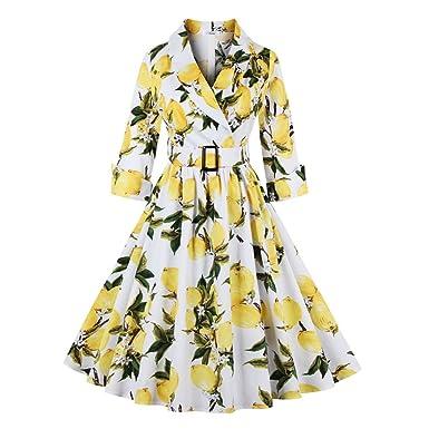 Women Floral Vintage Dress Lemon Print Party Dress Style Rockabilly Dress Vestido Luxury Pleated Vintage Dresses