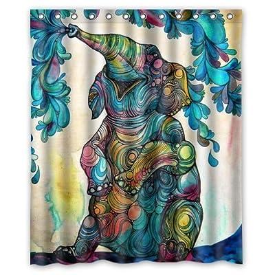 African Elephant 60w X72h Inch Bathroom Waterproof Shower Curtain Bath