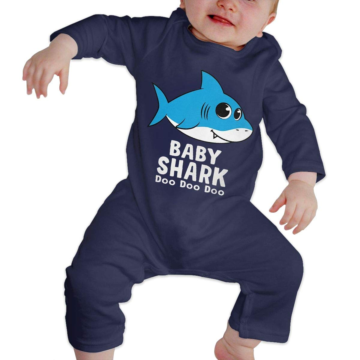 Unisex Baby Round Neck Long Sleeve Pure Color Climbing Clothes Baby Shark Song Crawling Suit