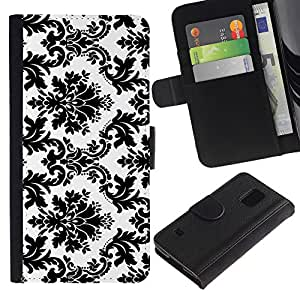 Billetera de Cuero Caso Titular de la tarjeta Carcasa Funda para Samsung Galaxy S5 V SM-G900 / Black White Stylish Classy / STRONG