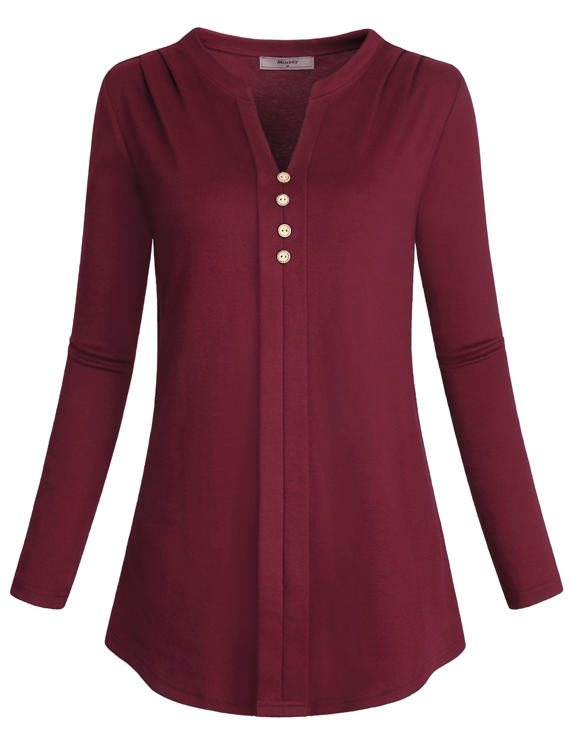 Tunic Tops for Leggings for Women, Miusey Ladies Stand Collar Vneck Shirts V-Neck Long Sleeve Blouses Button Pleat Front Rouched Vintage A Line Henley Knitted Stretchy Pullover Flared Sweatshirt Red M