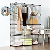Tespo Wire Cube Storage Shelves Book Shelf Metal Bookcase Shelving Closet Organization System DIY Modular Grid Cabinet (12 Cubes)