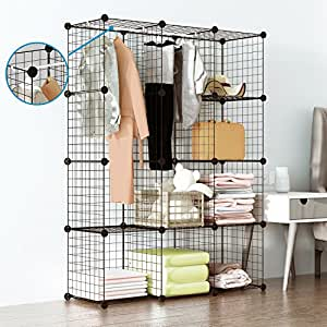 Amazon.com: Tespo Wire Cube Storage Shelves Book Shelf Metal Bookcase Shelving Closet