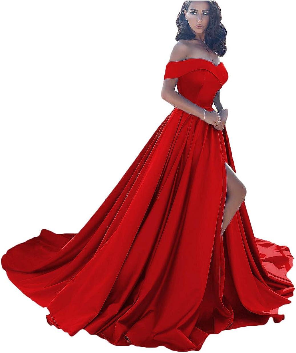 Dressesonline Women's Dressonline Off The Shoulder A Line Split Prom Evening Dress