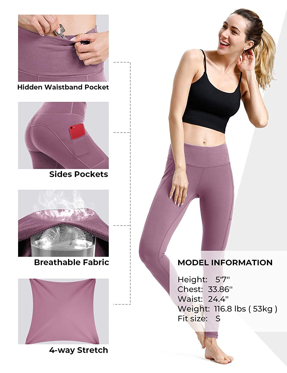 Compression Workout Leggings Tummy Control Yoga Shorts Capris ALONG FIT Yoga Pants for Women with Phone Pockets