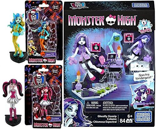 Monster High Figures Scary Cute Draculaura & Lagoona Blue + Model set Spectra Vondergeist Ghostly Gossip Column Building Kit