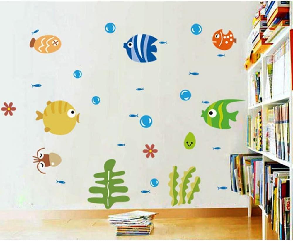 KATTERS Pegatina de baño Peces Mar Dibujos Animados Pegatina de Pared para Ducha Niños Niños Bebé Baño Bañera Azulejos Baño Sticker1Pcs