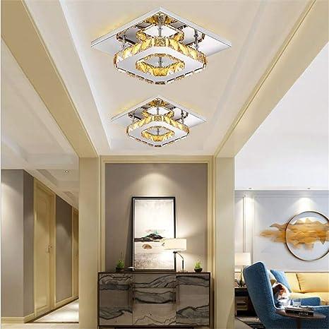 Araña de cristal LED Lámpara de techo cuadrada Montaje ...