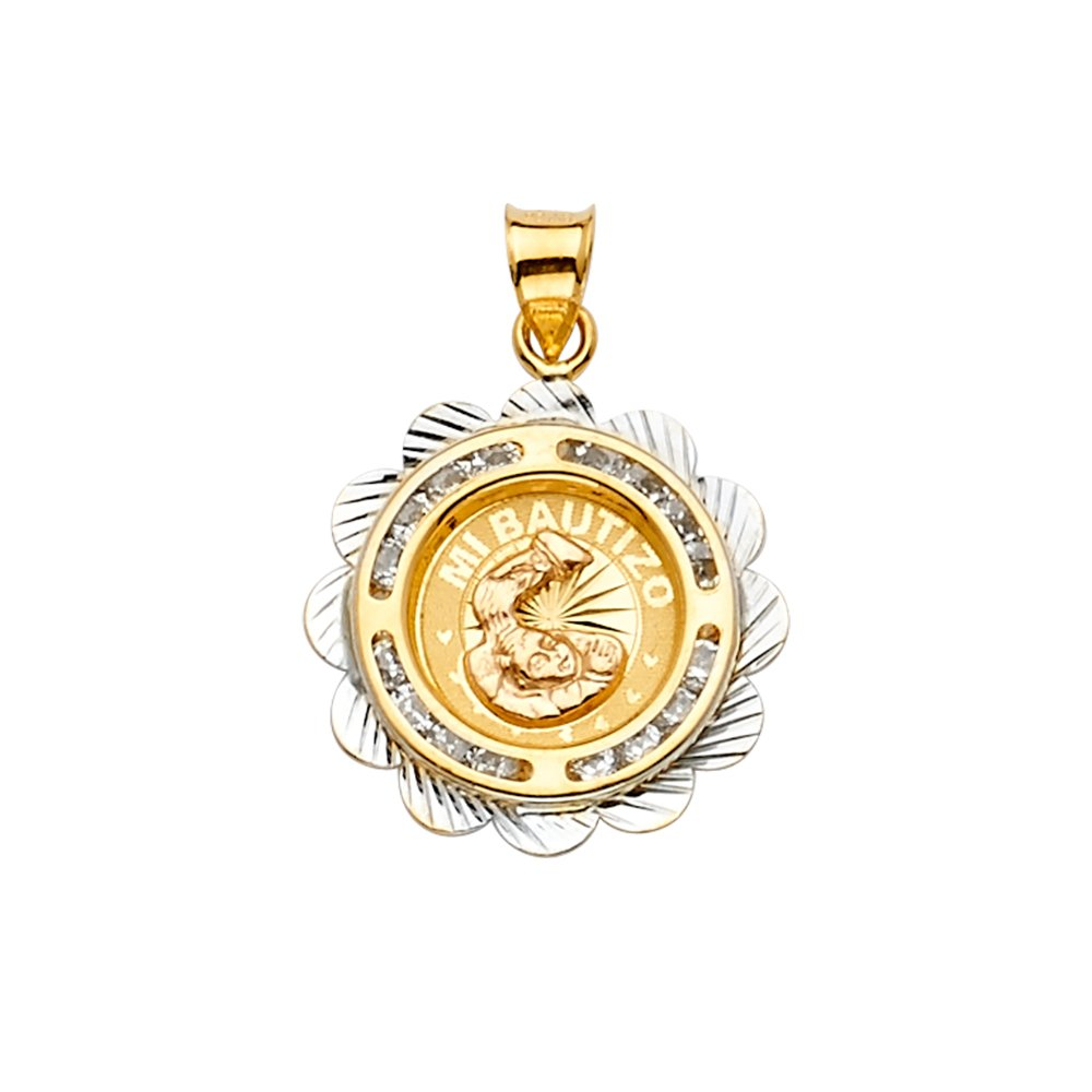 Ioka 14K Two Tone Gold CZ Baptism Medal Religious Charm Pendant For Necklace or Chain