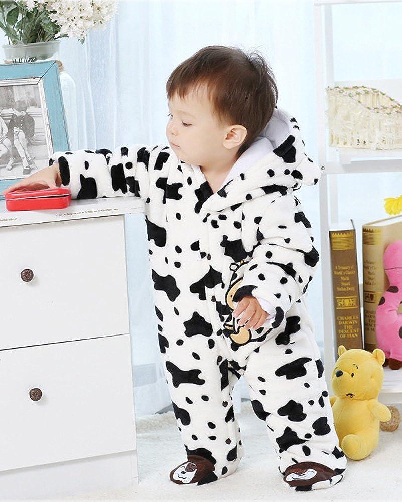 Minetom Herbst Winter Verdickte Overalls Baby M/ädchen Jungen Overall Cartoon Coral Fleece Kinderkleidung Warm Einteiler Spieler