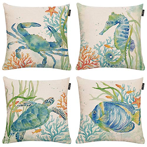(GTEXT Set of 4 Ocean Beach Outdoor Throw Pillow Covers Turtle Crab Seahorse Fish Decorative Sea Coastal Theme Decor Cushion Square Pillowcase 18x18 Beach Pillows for Patio Couch Sofa,Marine Animals)