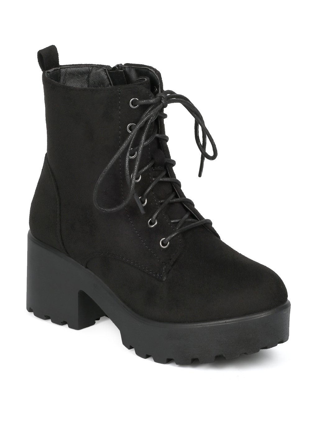 Indulge Mode-05 Women Faux Suede Lace Up Platform Lug Sole Block Heel Ankle Boot HE16 - Black Faux Suede (Size: 9.0)