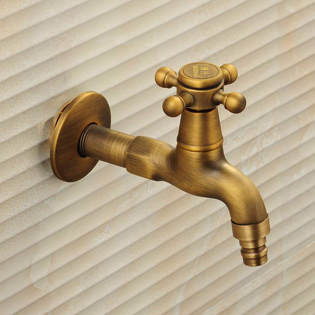 X10 XX Lavadora Grifo de Cobre extendido Solo Grifo de Agua fría 4 Puntos Grifo Antiguo Estilo Europeo pequeño Grifo