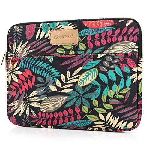 CoolBELL 12.9 Inch iPad Pro Sleeve Case Surface Pro 4 Cover With Colorful Leaves Pattern Fabric Sleeve Canvas Bag Exclusive For iPad Pro/Surface Pro 4/12 Inch New Mabook/Women/Men