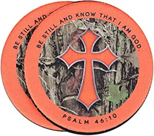 Camo Cross Christian Auto Coasters - 2 pk