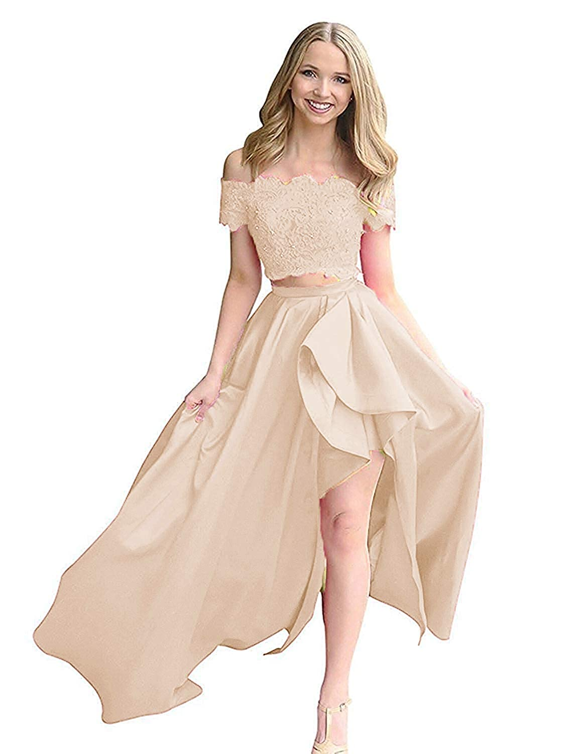 Champagne ModeC Prom Dresses Evening Gowns Long HiLo Two Pieces Prom Party Gown with Pockets Off Shoulder
