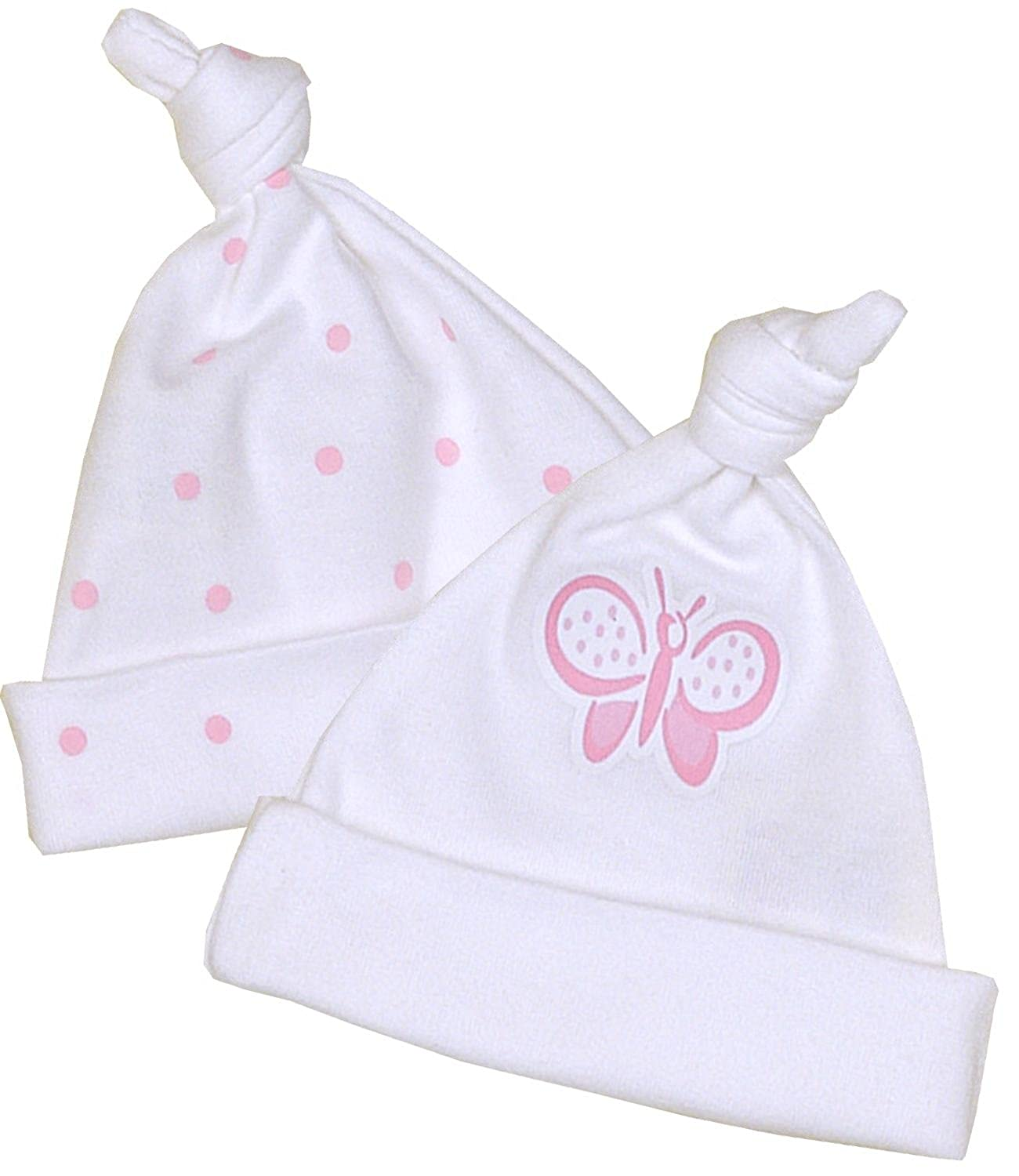 BabyPrem Premature Baby Pack of 2 Knotted Hats Girls Pink 1.5-7.5lb
