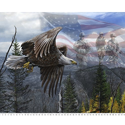 American Soldiers & Eagle Cotton Fabric Panel (By Fabric The Panel)