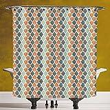 Stylish Shower Curtain 3.0 [Geometric,Square Shapes with Lines Rhombus Geometric Design Elements Decorative,Orange Almond Green Charcoal Grey] Polyester Fabric Bath Decorative Curtain Ideas