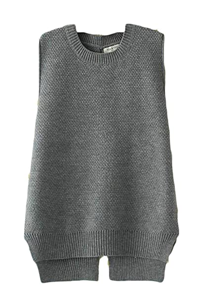 c5d6572eb31c9e Pandapang Women Tops Knitwear Tank Tops Vest Pure Color Leisure Sleeveless  Round Neck Lace up Plus Size Sweaters at Amazon Women s Clothing store