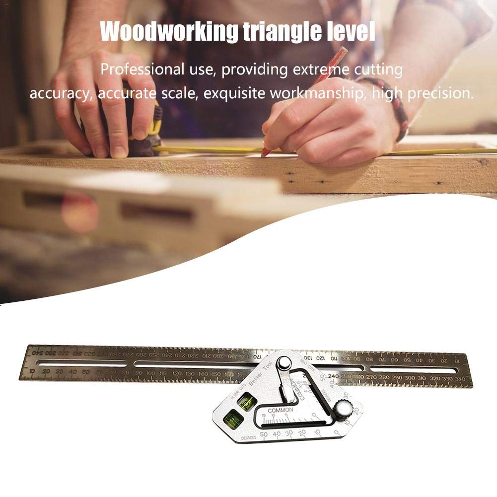 tidystore Triangle Ruler Stainless Steel Multi-function Measuring Tool Adjustable High Precision Rulers For Woodworking Woodworker Enthusiasts Designers Engineers Teachers