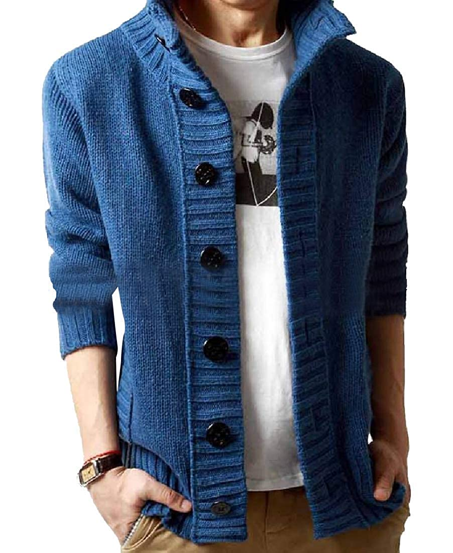 Abetteric Men Thickening Relaxed-Fit Button Down Jacquard Knitwear