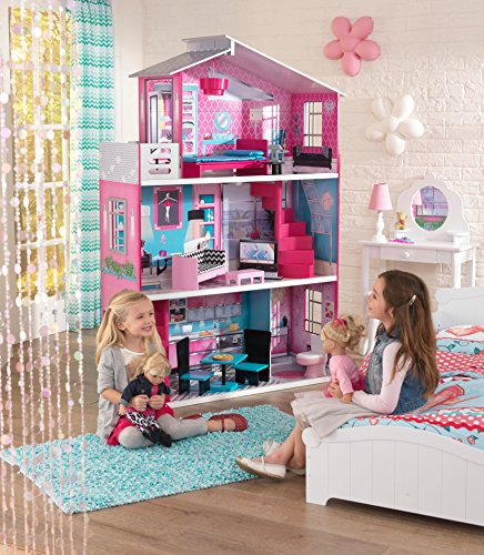 "KidKraft Wooden Breanna Dollhouse for 18"" Dolls with 12Piece Accessories, 5-Foot Tall Toy"