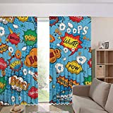 iPrint Bedroom/Living Room/Kids/Youth Room Curtain Panels,Drapes for Dining Room,Country Style,Speech Balloons Icon Chat Scream Magazine Signs 108Wx108L Inch
