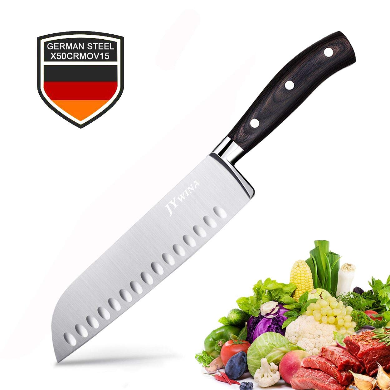Classic 7 inch Hollow Ground Santoku Knife, German High Carbon Stainless Steel Kitchen Knife