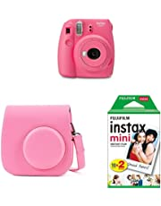 Fujifilm Instax Mini 9 - Kit Cámara instantánea + Funda, color Rosa (Flamingo Rosa)