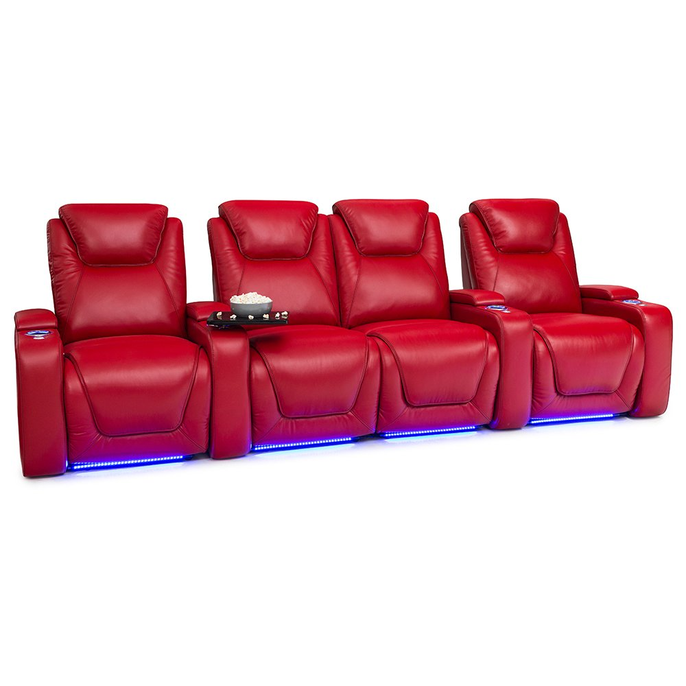 Seatcraft Equinox Home Theater Seating Power Recline Leather (Row of 4 Loveseat, Red)