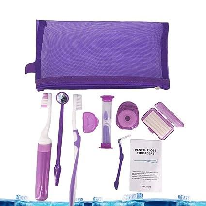QYWSJ 9 Piezas Kit de Cuidado Bucal, Cepillo de Dientes de Ortodoncia, Cera Dental