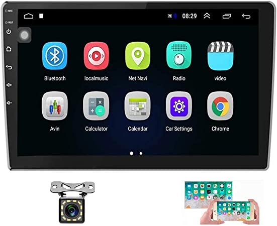 Hikity 10.1 Inch Android Car Stereo with GPS Double Din Car Radio Bluetooth FM AM RDS Radio Support WiFi Connect Mirror Link for Android//iOS Phone Dual USB Input /& 12 LEDs Backup Camera