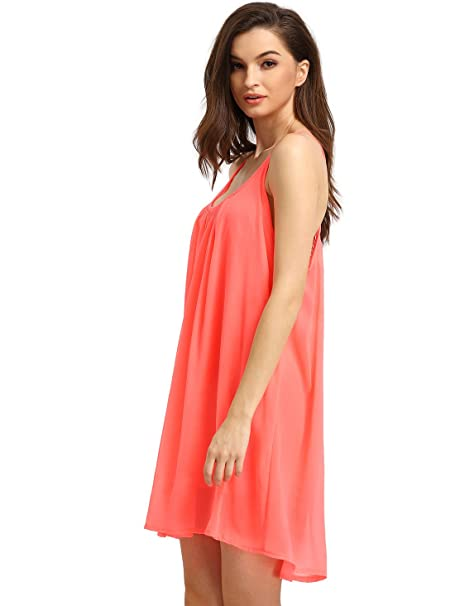 ac3179e10d Romwe Women s Spaghetti Strap Sundress Hollow Out Summer Chiffon Beach  Short Dress Watermelon Red L at Amazon Women s Clothing store