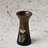 Thai Handcrafted Mango Wood Vase (Beige-Brown)