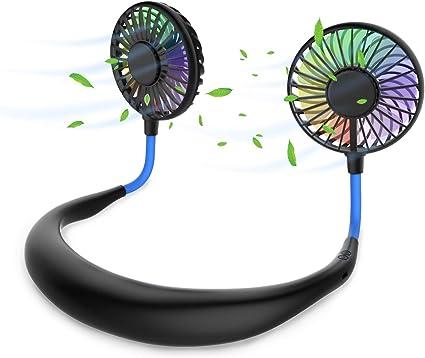 Ventilatore Portatile Indossabile da Collo Ricaricabile Mini USB Personale Ventilatore Mani Libere Appeso al Collo Ventilatore Sportivo Doppia Ventola con 3 Velocit/à per Ufficio Viaggi e Sport