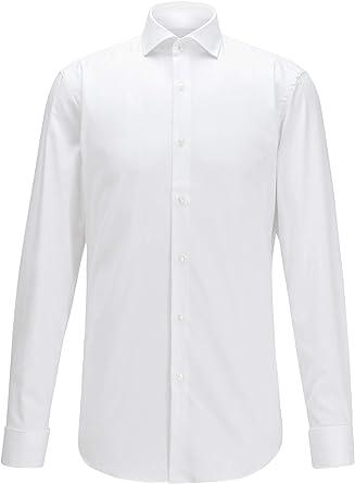 BOSS Camisa para hombre Jaiden, color blanco, corte entallado ...